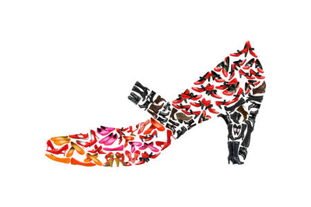 high heel shoes: Woman shoe shape made of other shoes