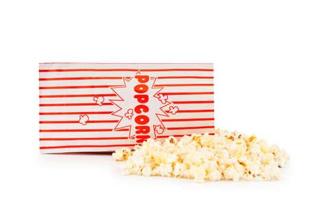 Popcorn bag isolated on the white background photo