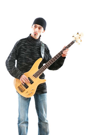 Guitar player isolated on the white background Stock Photo - 8903297
