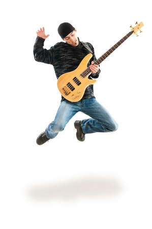 guitar player: Guitar player jumping in the air Stock Photo