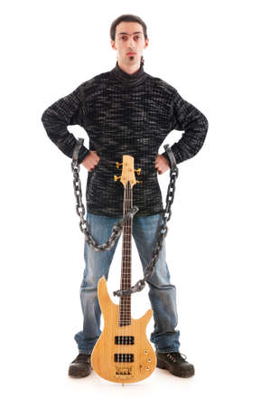 Guitar player isolated on the white background Stock Photo - 8903299