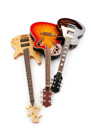 Musical guitar isolated on the white background photo