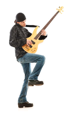 man playing guitar: Guitar player isolated on the white background Stock Photo