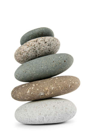 stable: Stack of pebbles isolated on the white