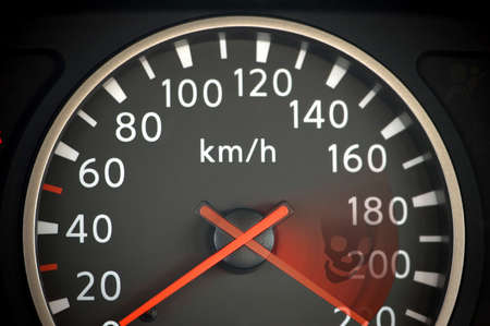 Close up of car speedometer with red arrow photo