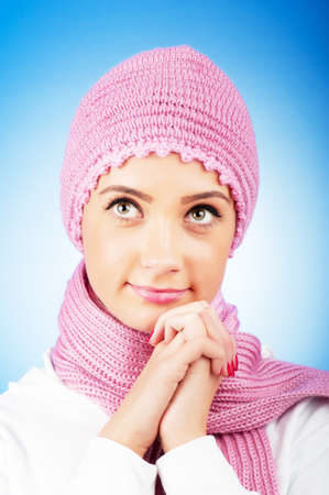 Nice looking woman in the warm clothing photo