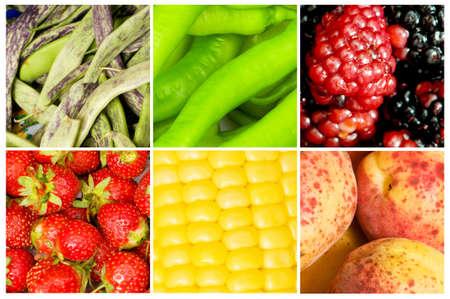 elote: Collage de muchas frutas y verduras Foto de archivo