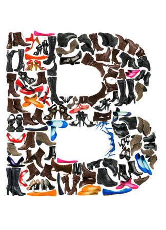 alphabetic: Font made of hundreds of shoes - Letter B Stock Photo