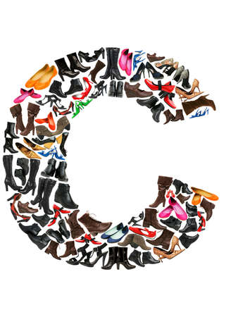 Font made of hundreds of shoes - Letter C photo