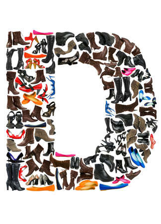 Font made of hundreds of shoes - Letter D Stock Photo - 8948929