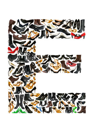 e pretty: Font made of hundreds of shoes - Letter E