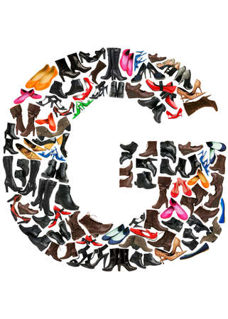 Font made of hundreds of shoes - Letter G Stock Photo - 8948867