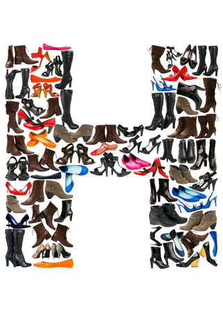 hundreds: Font made of hundreds of shoes - Letter H