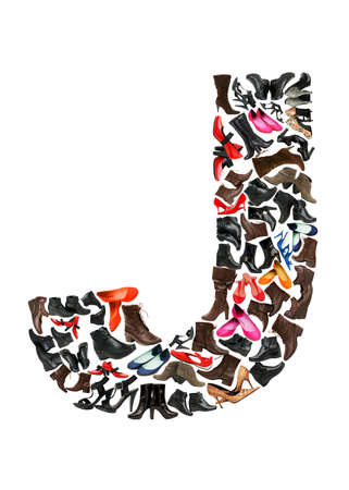 Font made of hundreds of shoes - Letter J Stock Photo - 8945612
