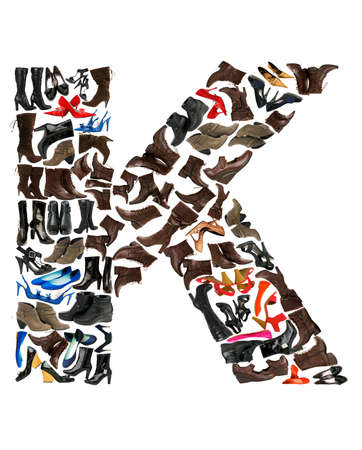Font made of hundreds of shoes - Letter K Stock Photo - 8948869