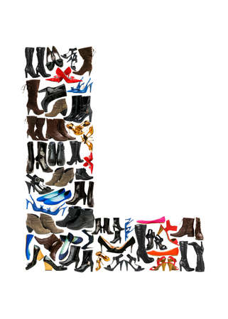 hundreds: Font made of hundreds of shoes - Letter L