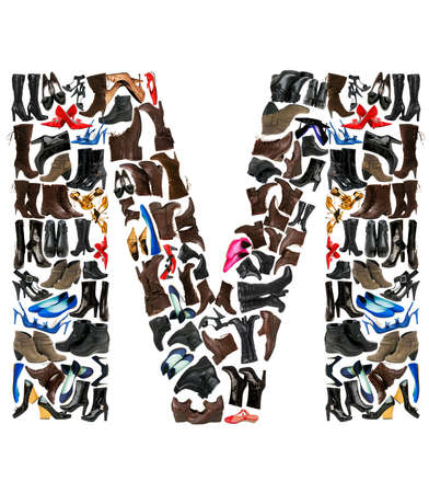 Font made of hundreds of shoes - Letter M photo