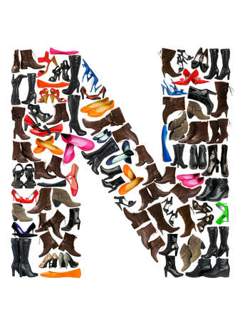 Font made of hundreds of shoes - Letter N photo