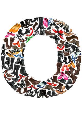 hundreds: Font made of hundreds of shoes - Letter O