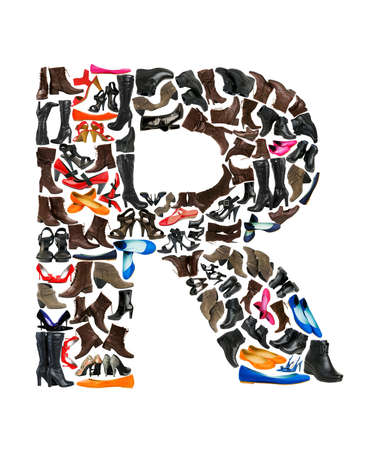 hundreds: Font made of hundreds of shoes - Letter R