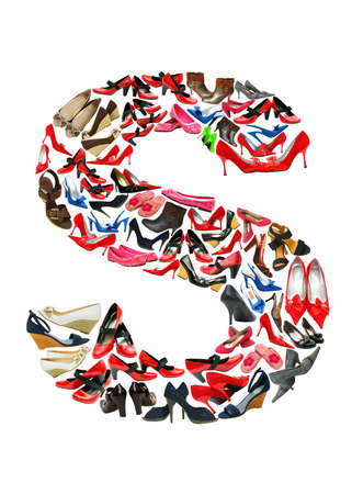 hundreds: Font made of hundreds of shoes - Letter S