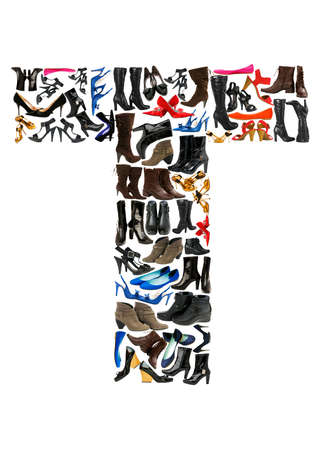 Font made of hundreds of shoes - Letter T photo