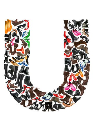 Font made of hundreds of shoes - Letter U Stock Photo - 8948790