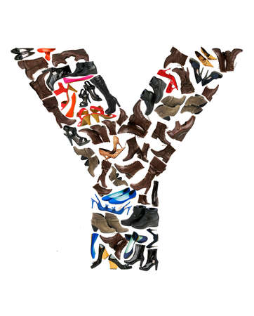 Font made of hundreds of shoes - Letter Y Stock Photo - 8947384