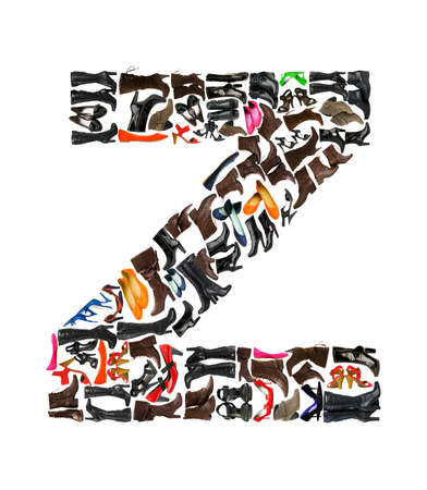 Font made of hundreds of shoes - Letter Z Stock Photo - 8947543