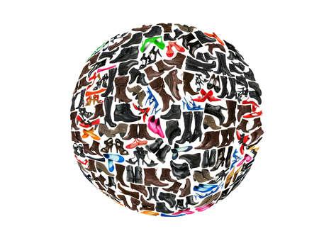Round shape made of hundreds of shoes photo