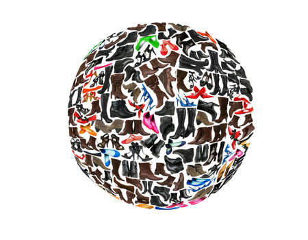 Round shape made of hundreds of shoes Stock Photo - 8949177