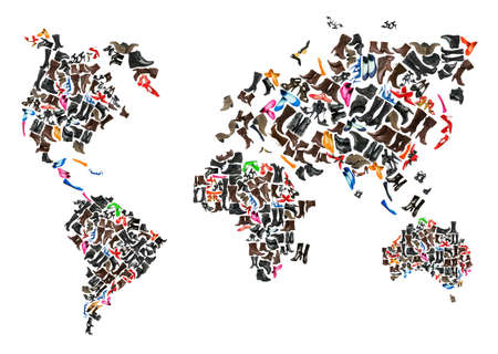 World map made of hundreds of othe shoes photo