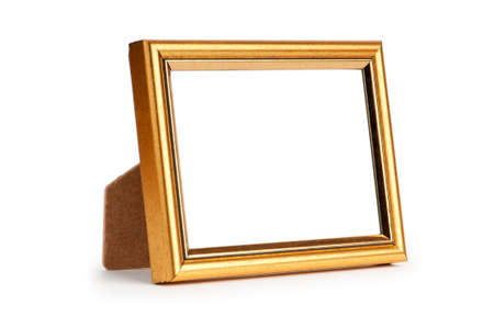 old photo border: Picture frame isolated on the white background Stock Photo