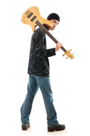 Guitar player isolated on the white background Stock Photo - 8965910