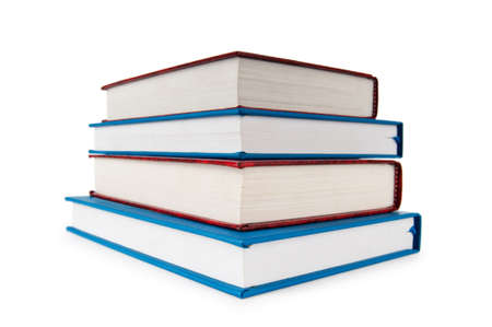 textbook: Stack of books isolated on the white background  Stock Photo