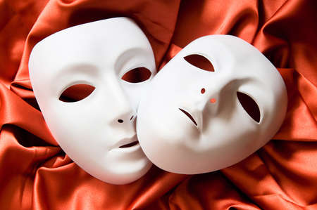 Theatre concept with the white plastic masks Stock Photo - 8943062