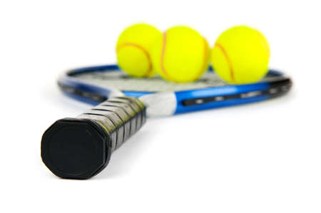 raquet: Tennis concept with the balls and racket Stock Photo