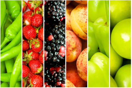 Collage of many different fruits and vegetables photo