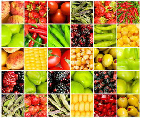 produces: Collage of many different fruits and vegetables