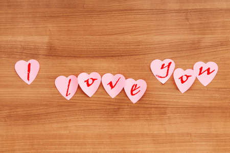 Heart shaped sticky notes on the background Stock Photo - 9007329
