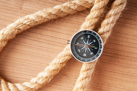 Compass and rope in travel and adventure concept Stock Photo - 9007332