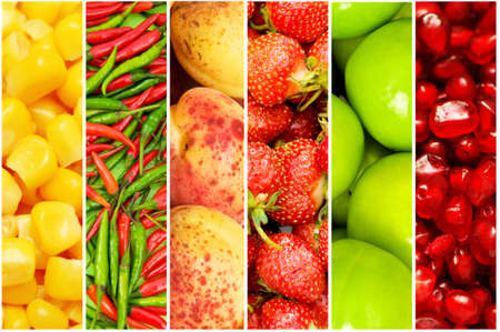 Collage of many different fruits and vegetables Stock Photo - 9007366