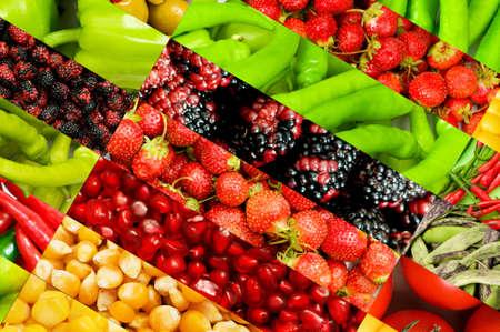 ensaladas de frutas: Collage de muchas frutas y verduras Foto de archivo