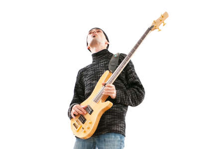 Guitar player isolated on the white background Stock Photo - 9112032