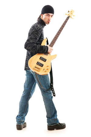 Guitar player isolated on the white background Stock Photo