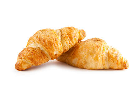 butter icing: Breakfast concept - croissant isolated on white Stock Photo