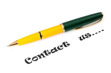 Pen and contact us message on white Stock Photo - 9087296