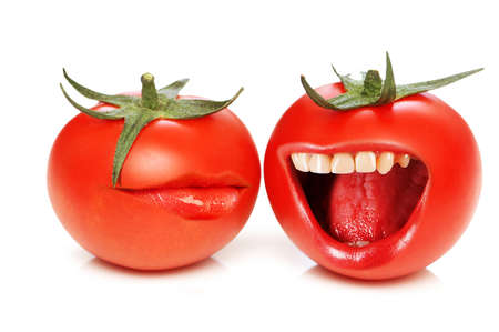 Funny concept with tomatoes and open mouth photo