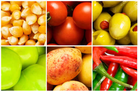 Collage of many different fruits and vegetables Stock Photo - 9087691