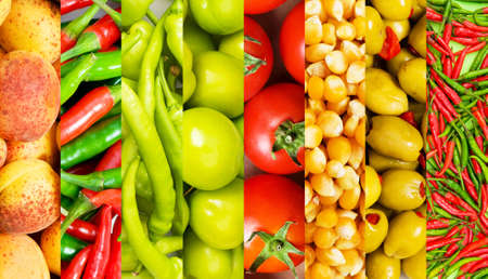 corn salad: Collage of many different fruits and vegetables